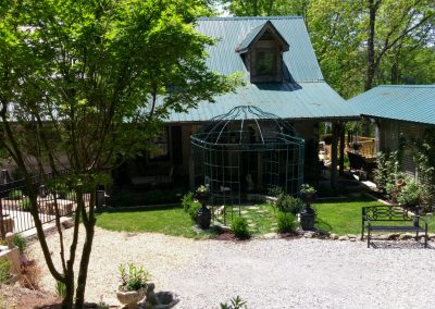 Green Gazebo with pool on site